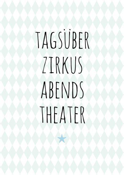 Tagsüber Zirkus, abends Theater - Postkarte mint von OOH HAPPY DAY auf DaWanda.com