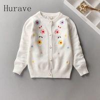 Hurave Moda nuevos niños de la marca suéter de la muchacha ropa de la Rebeca de punto floral lindo suéter de otoño ropa de los niños