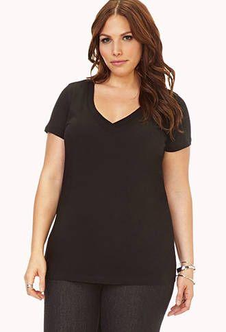 Black favourite basic v-neck t-shirt - forever 21 $6.80