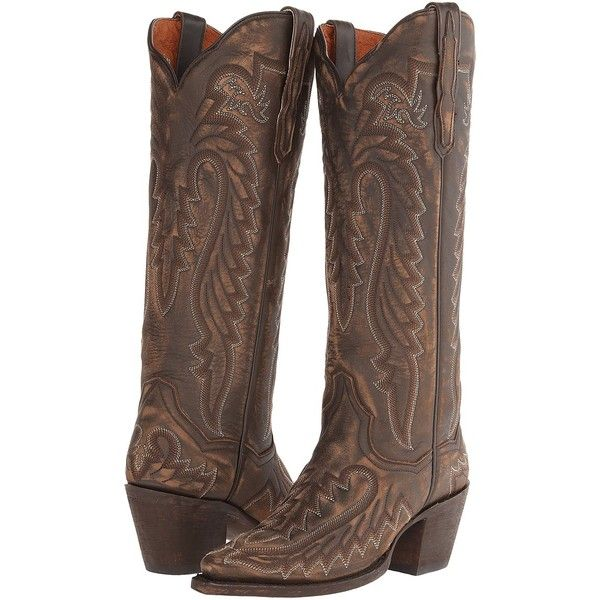 Dan Post Heather (Distressed Brown) Cowboy Boots ($113) ❤ liked on Polyvore featuring shoes, boots, brown, knee-high boots, tall cowgirl boots, knee high leather boots, western cowboy boots, leather boots and brown cowboy boots