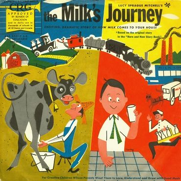 """The Milk's Journey— vintage kids' album cover — Norman Rose Children's Record Guild CRG-5029 (1) 10"""" 78RPM record in sleeve"""