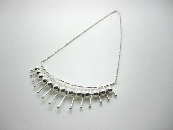 Heikki Kaksonen for Kaunis Koru, Vintage sterling silver necklace, 1964. #Finland   finlandjewelry.com