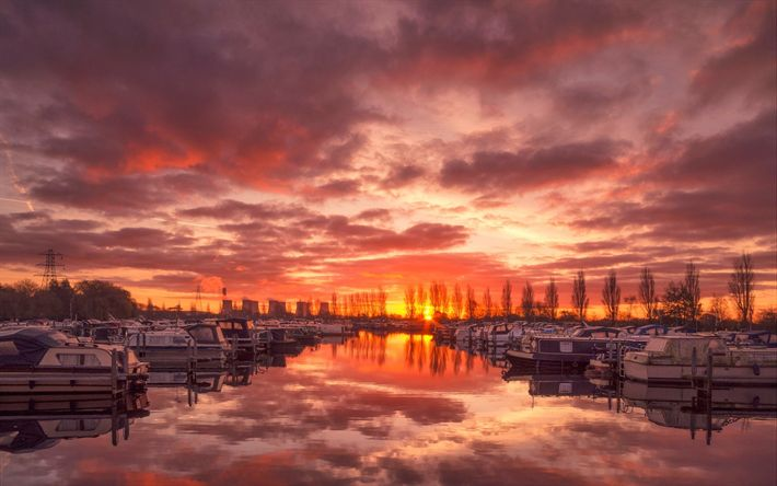 Download wallpapers Salt, bay, sunset, yachts, boats, England, UK
