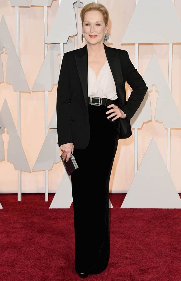 Meryl Streep no red carpet do Oscar 2015.