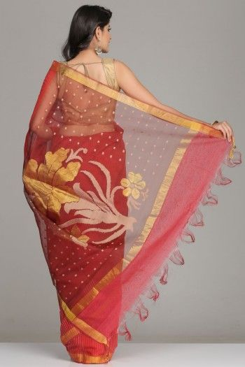 Self-Striped Red Tussar Silk Saree With Gold Zari Border And Abstract Temple Motifs And Maroon Pallu With Square And Floral Motifs