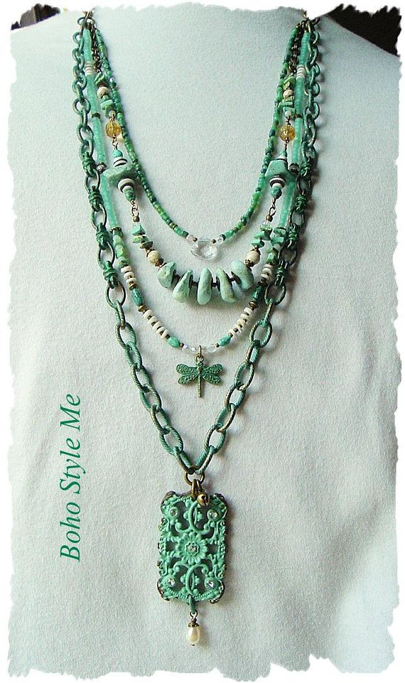 Bohemian Necklace Boho Shabby Cowgirl Upcycled Rustic Junk