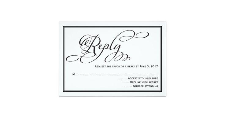 Simple Calligraphy Script Wedding Reply Card Simple RSVP Wedding Invitation