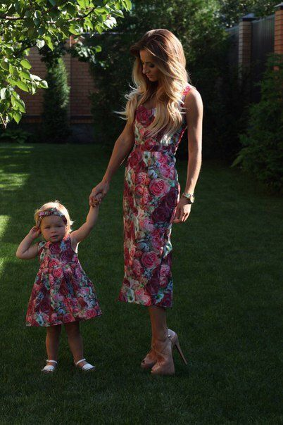 Flower cocktail  matching dresses mother and me by dressionate