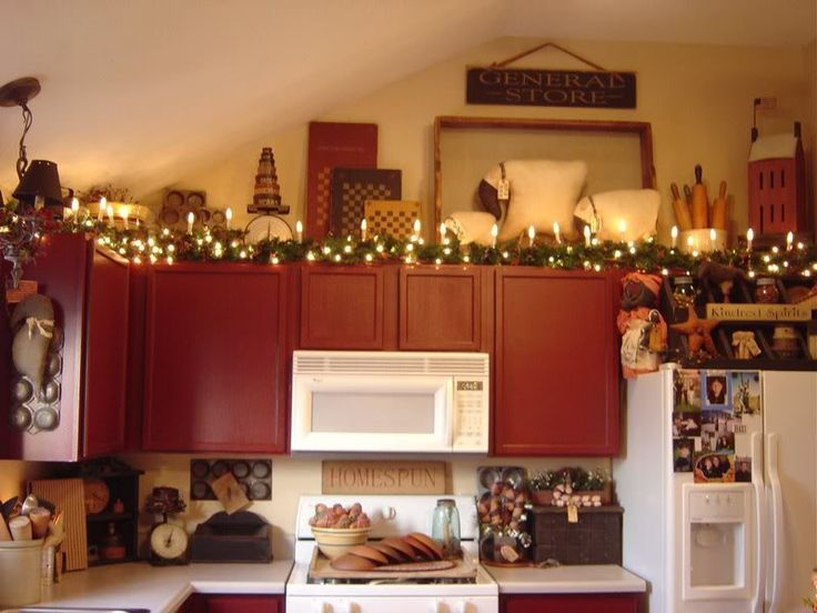 Christmas lights above the cabinets...love it!