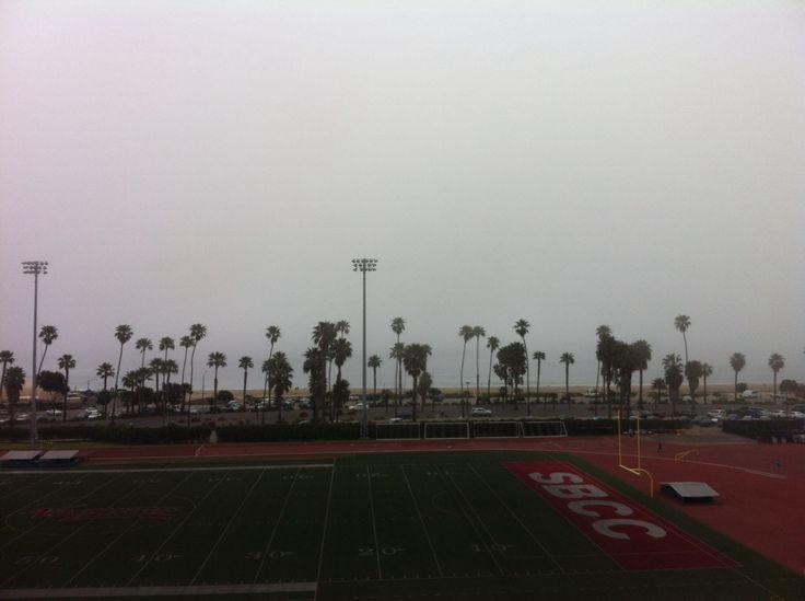 Santa Barbara community college football stadium overlooking the beach.