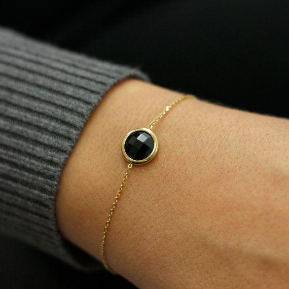 Black onyx bracelet, 14K gold, minimalist design bracelet, natural gemstone, bracelet for women, dainty jewelry, ideal gift for her, AB124