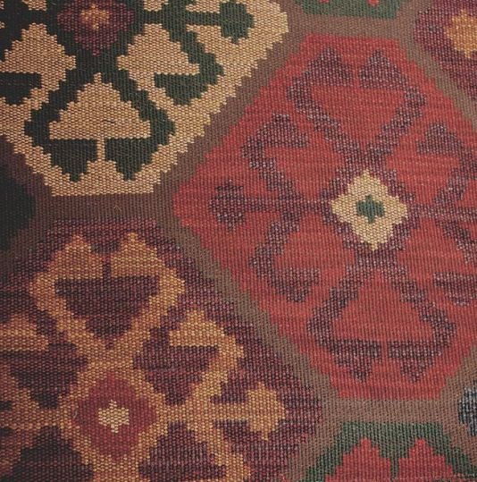 Topkapi Fabric Heavy weight fabric with honeycomb design, in brown, red, gold, blue and teal