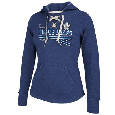 Womens Toronto Maple Leafs Reebok Blue CCM Classic Ribbon Lace-Up Hoodie