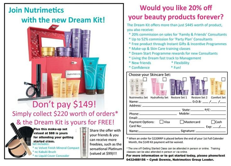 Join Nutrimetics with our new Dream Kit!!  $0 Upfront, Don't Pay $149.  Start Today!!  www.nutrimetics.com.au/cyndi  Ask me how to get started. Phone/text Cyndi Downie Nutrimetics Group Leader on 0432488156 or email cyndi.nutrimetics@gmail.com
