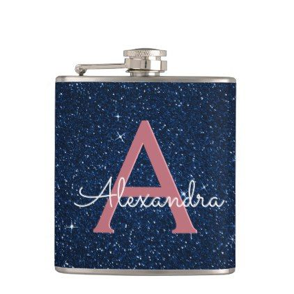 Navy Blue & Rose Gold Sparkle Monogram Initial Hip Flask - bridal shower gifts ideas wedding bride