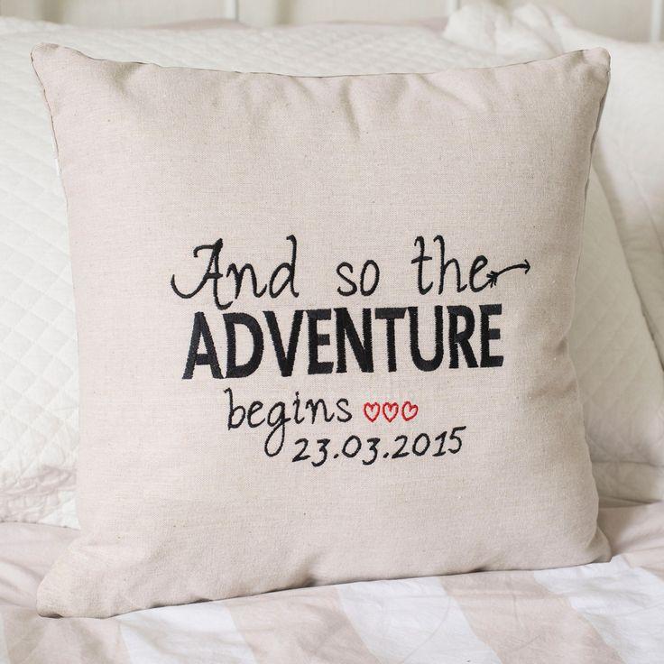Personalised Natural Cushion - Adventure | GettingPersonal.co.uk