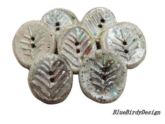 7 Ceramic buttons round button leaf button raku by BlueBirdyDesign, €14.00