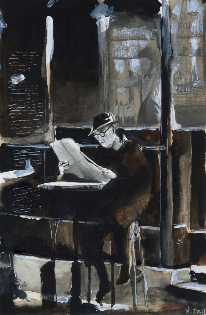 The old man with newspaper. Watercolor painting / Aquarelle. By Nicolas Jolly.: