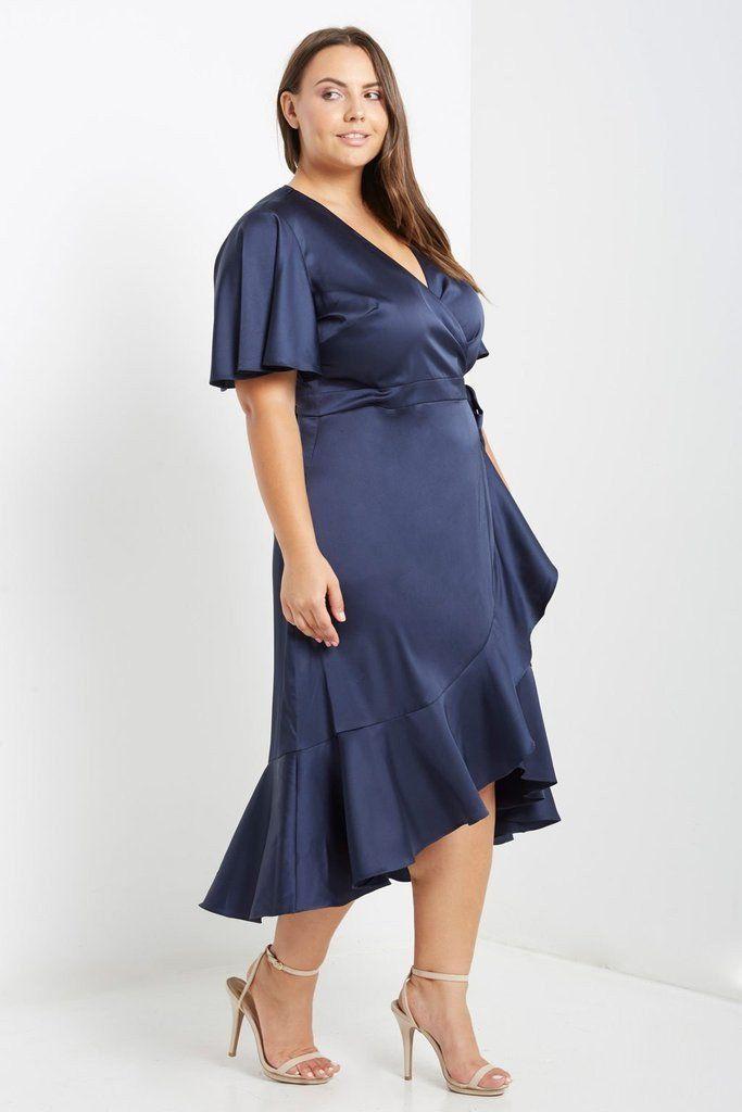 Navy Satin Wrap Midi Dress Plus Size | Maxi dress in 2019 ...