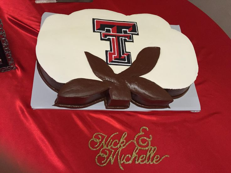 cotton boll grooms cake with double t for Texas Tech