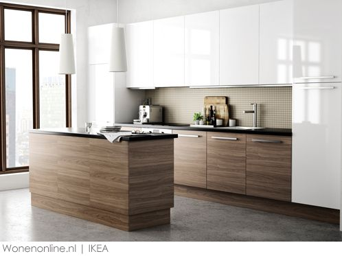 Ikea - Metod systeem. This palate seems close to what we are looking at, we are worried about there being too much white on the back cabinetry.  Considering a grey or integrating some more wood?