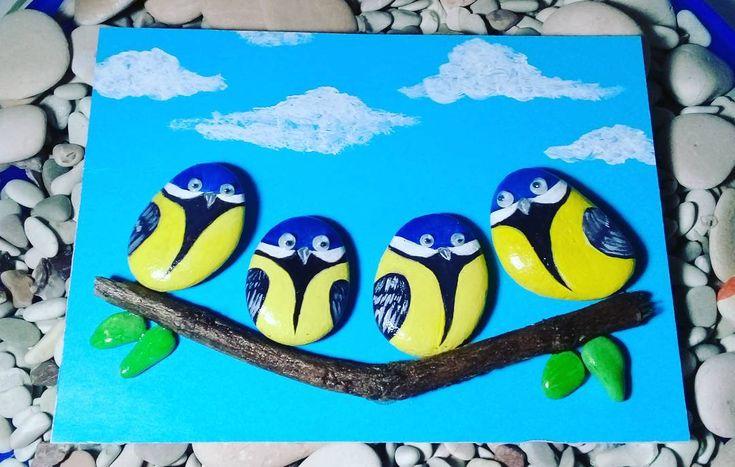 "10 Likes, 3 Comments - Rafa Pebble Art (@himawan_hijirosan) on Instagram: ""Pebble Art : Birds #pebbleart #Handmadecraft #homedecor #decoration #craft #hiasanrumah #pebbles…"""