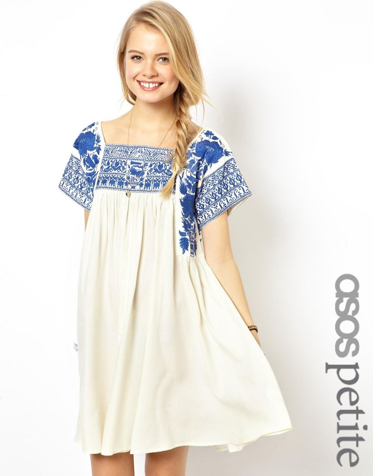 ASOS PETITE Premium Embroidered Swing Dress