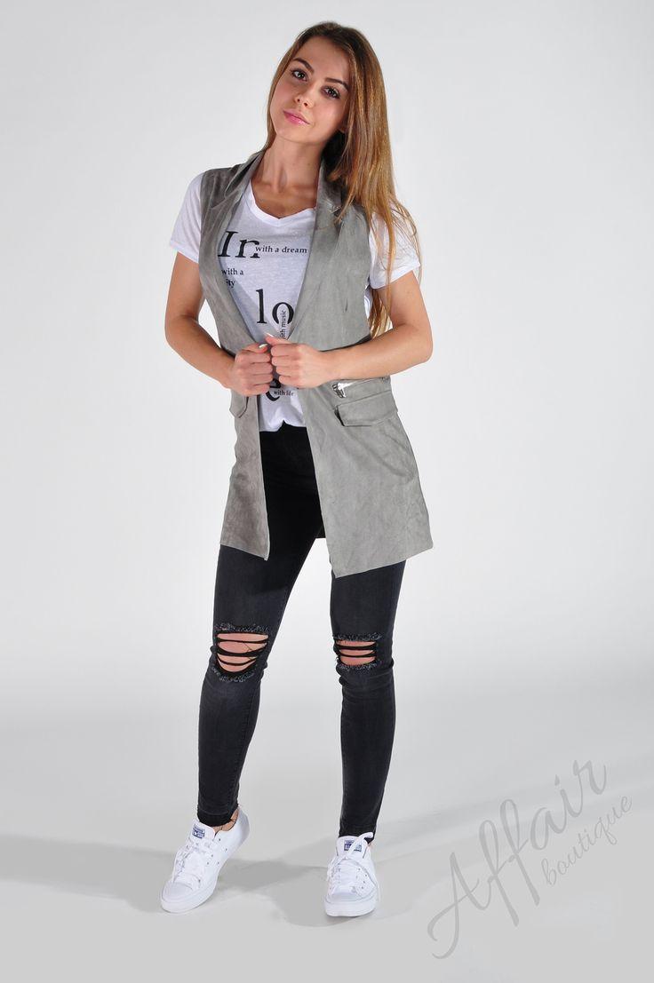 Szara, elegancka, długa kamizelka - Affair Boutique