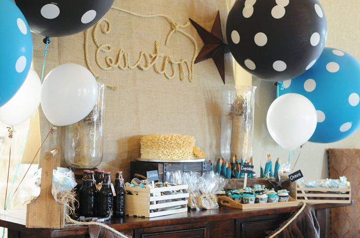 Cowboy Themed Baby Shower - I love the name with the roap on the burlap