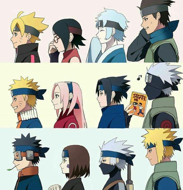 Equipes de Naruto. Nova e antiga geração.
