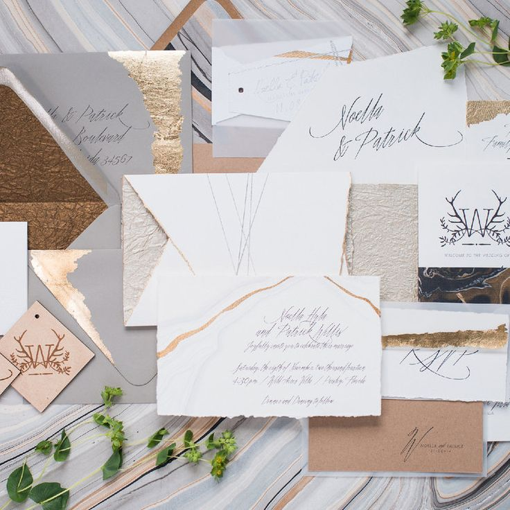 custom wedding invitations nashville%0A Gold foil rustic glam wedding invitations   Eleven Note Stationery
