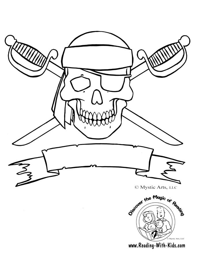 Skull and Crossbones Coloring Page- so cute for birthdays, halloween and any little boy that loves pirates! Lots of FREE printables!