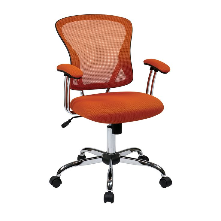 Flash Furniture Mid-Back Office Chair with Chrome Finished Base orange mid-back best affordable office chair