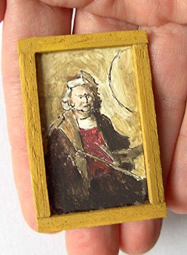 OOAK 1/12 Escala casa de muñecas Miniatura Pintura - Rembrandt - Auto Retrato