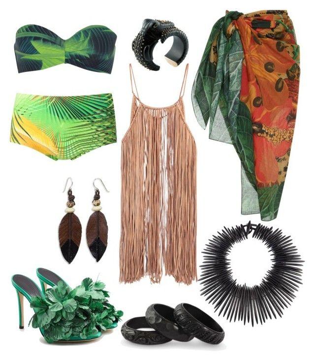 """Tropical Island Outfit"" by miwemporium92 on Polyvore featuring Calvin Klein, Lygia & Nanny, Marco de Vincenzo, Caravana, Água de Coco, NOVICA and Monies"