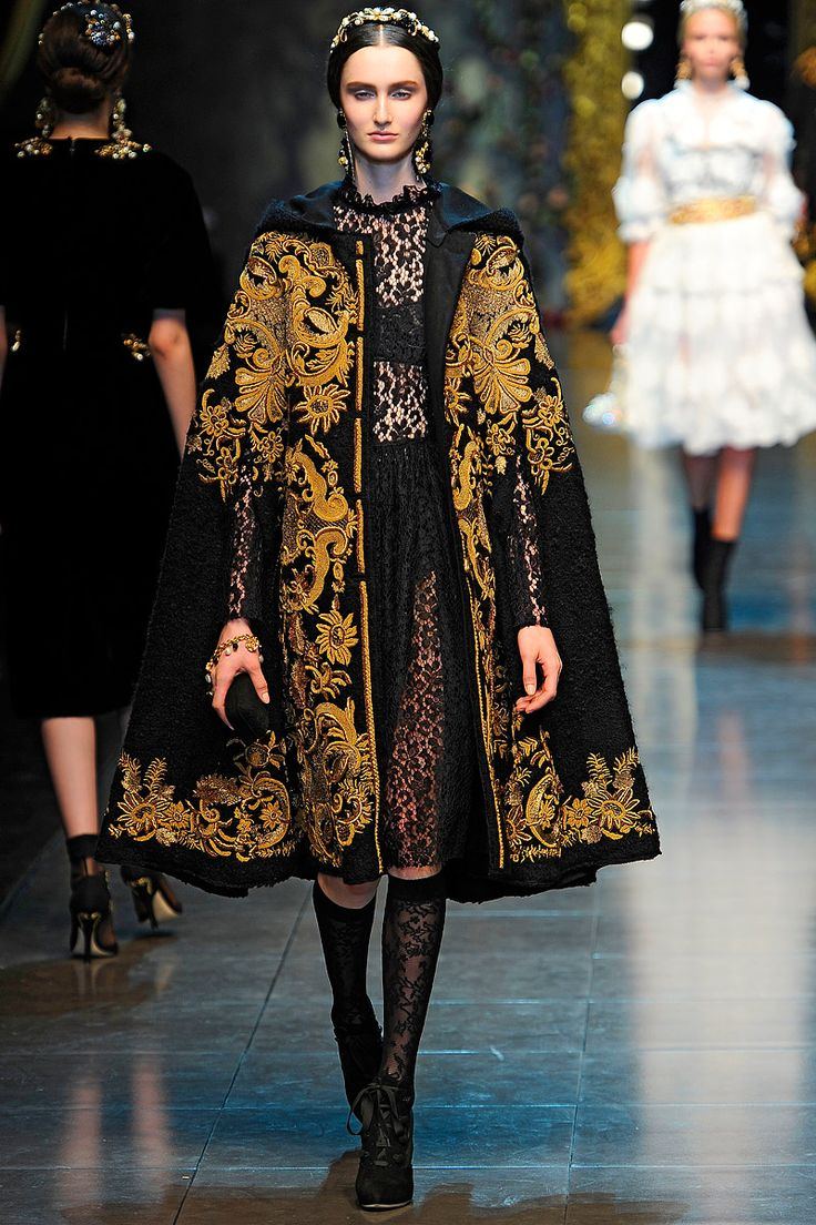"LOVE the ""Grand Dutchess of Russia"" things happening for Fall. It's been too long, gold-embroidered velvet. Far too long. (Dolce & Gabbana Fall 2012 RTW)"