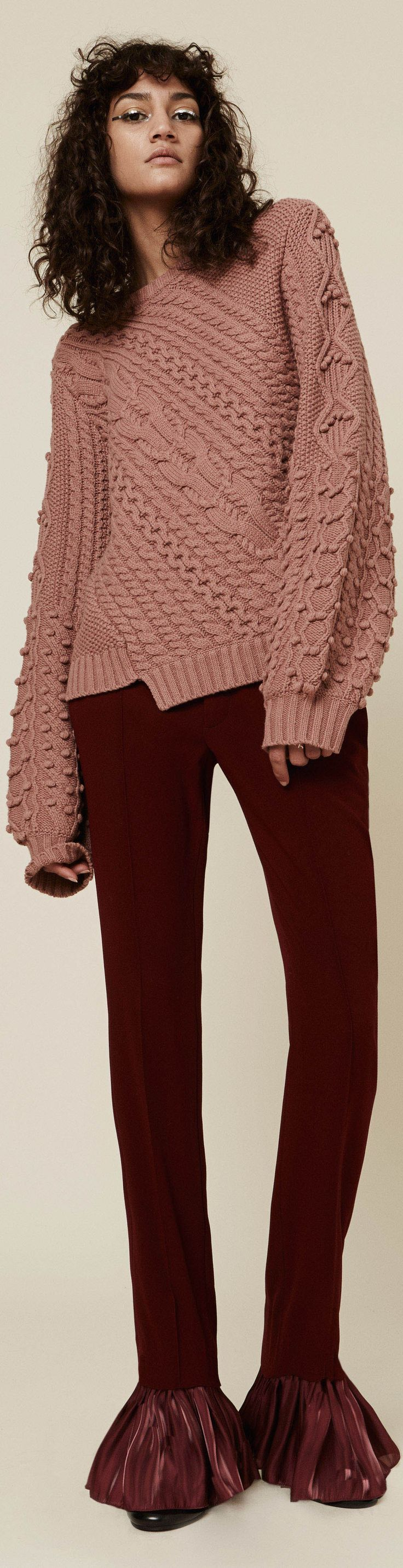 pink textured sweater | burgundy pants | shut up and take my money