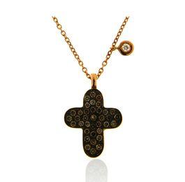 CRUZ DIAMONDS Ref: 38429 Colgante y cadena realizados en oro rosa de 18 Kts. Todo el frente de la cruz lleva rodio negro y engastados un pavé de diamantes brown. La cadena lleva como detalle un pequeño chaton colgando con un brillante.