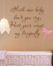 Hush now baby Dragonfly Vinyl Wall Decal Lettering Art