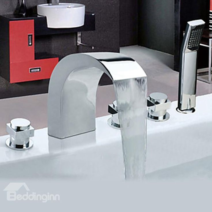 chrome finish widespread stainless steel style bathtub faucets