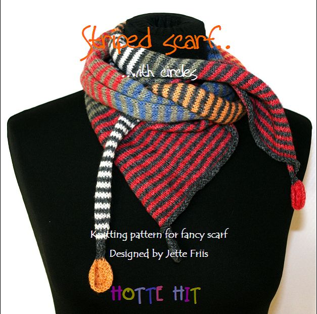 """The E-book - """"Striped scarf with cirkles"""" Http://www.hottehit.dk"""