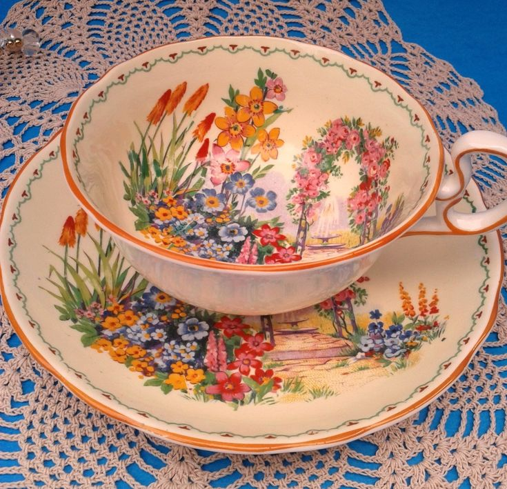 Radford's Crown Garden Scene Teacup and Saucer Hand Painted Rare Tea Cup Set