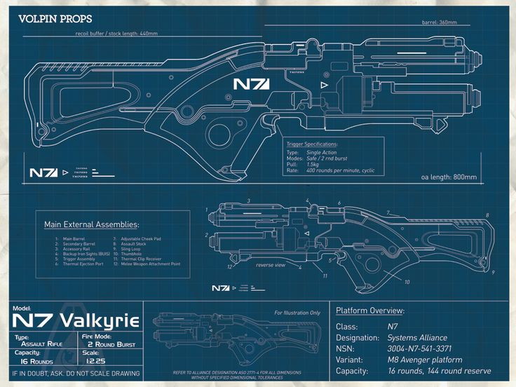 N7 Valkyrie Rifle Blueprint By Volpin Props Mass Effect
