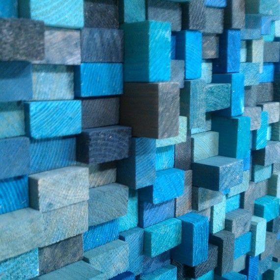 Wall Sculpture Aqua Blue Wood Blocks by TateLowe on Etsy, $135.00