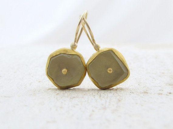 Lemon Quarts Gold Earrings. Matte FreeForm Lemon Quarts by Omiya