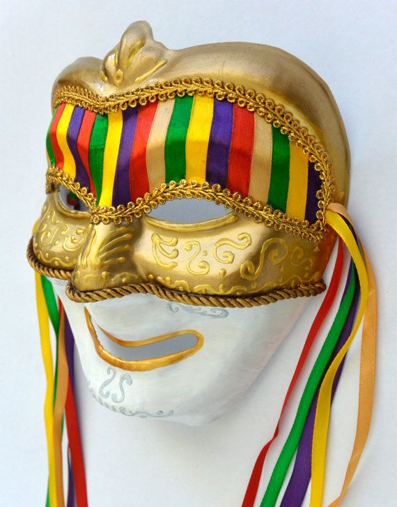 Venetian mask, handmade, paper mache, painted with acrylic, spray, cords, beads, colorful ribbons, synthetic feathers. It is used for decoration or to be used in Carnivals. Measures: 7,2 x 14 x 4,5 inches