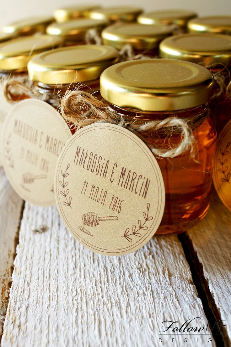 Podziękowanie dla gości - mini miodziki / Rustykalne Dekoracje ślubne od FollowMe DESIGN / Wedding Favors - Honey Jar Favors / Rustic Wedding Decorations & Details by FollowMe DESIGN