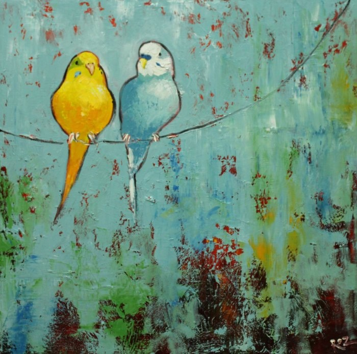 Birds painting 67 20x20 inch parakeet oil painting by by RozArt