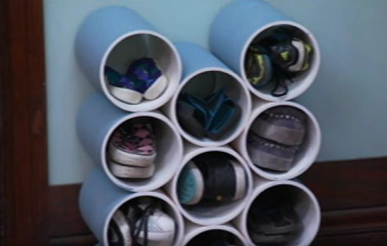 A shoe rack is a item to use for organizing an out of control shoe collection. One idea that is super easy to do is to make your own PVC shoe rack at home.