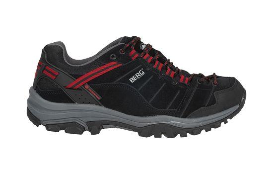 """Modelo """"Hare""""- Ténis pretos e vermelhos, para homem, vocacionados para caminhadas."""